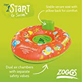 Zoggs Baby Inflatable Trainer, Swim Seat, Orange/Green/Zoggy Print, 0-12 Months/0-11 kg