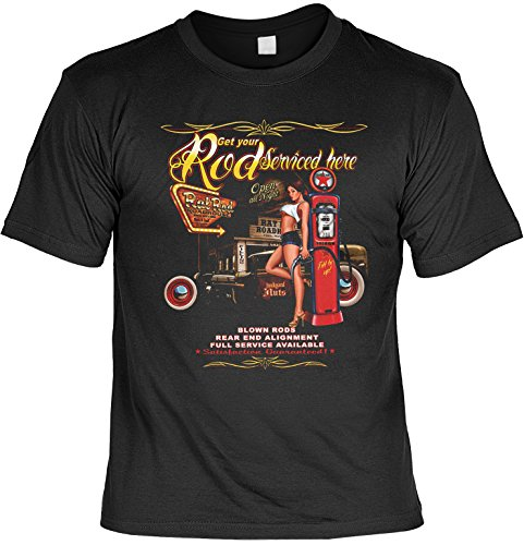 Vintage T-Shirt Rod Serviced here Rockabilly T-Shirt Pin Up Rat Pinup Herren T-Shirt American Laiberl Leiberl Hot Rod Oldschool Schwarz
