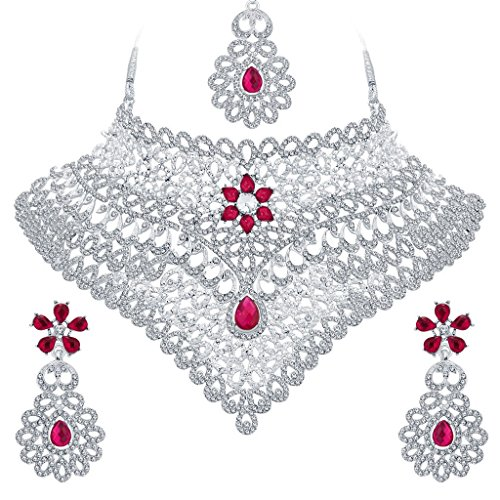 Sukkhi Attractive Rhodium Plated AD Necklace Set For Women