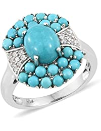 TJC Women Platinum Plated Sterling Silver Sleeping Beauty Turquoise and Cambodian Zircon Cocktail Ring Size T