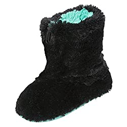 Dearfoams Plush Boot Slipper with Half Zip Black Large UK/India 7-8