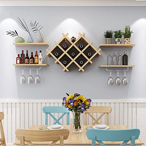 LUYIYI Wandregal Weinschrank Wand-montiert Display Weinregal Rotweinglas Halter Restaurant Dekoration (Color : Light Walnut) -