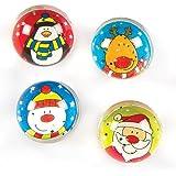Palline Rimbalzine con Brillantini Amici Natalizi per Bambini da Mettere nella Calza di Natale (confezione da 4)