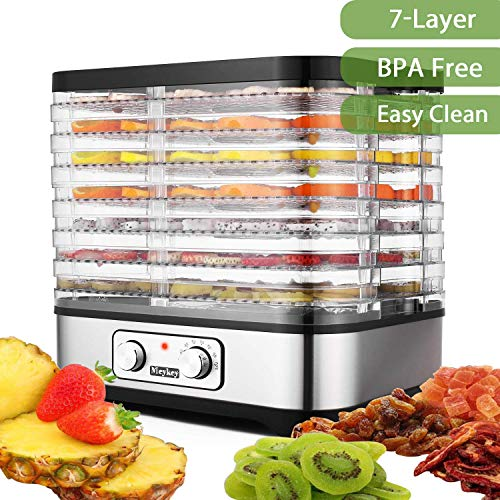 Dörrautomat Dehydrator mit digitaler Temperaturregelung für D.I.Y Gesunde Snacks mit 7 abnehmbaren Dörrgittern BPA-frei (7 Etagen/250W)