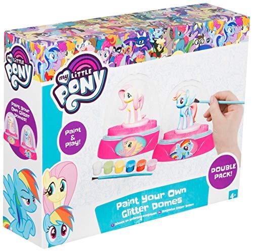 Sambro MLP4-4182-1 Kreativset für 2 Glitter Schneekugeln mit Figuren, Farben und Zubehör, My Little Pony, bunt -