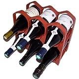 Porte bouteilles ruban rouge jusqu 39 6 bouteilles m tal empilable la chai - Range bouteille brique ...