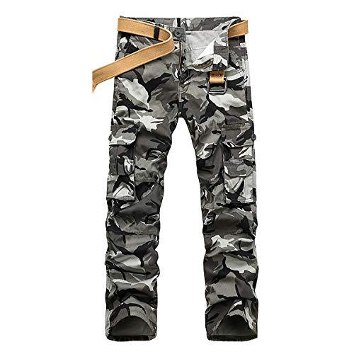 iCKER Herren Cargo Hose Camouflage Pants Camo Trousers Arbeitshose Freizeithose (Camo-Grau, Taille:92) Taille Camo