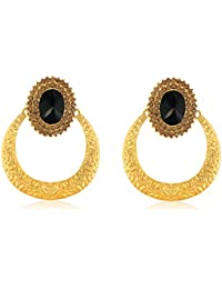 Spargz Stylish Royal Look Black Stone Earrings With Gold Plating For Women AIER 604