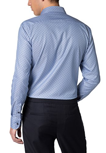 ETERNA long sleeve Shirt SLIM FIT Herringbone printed azzurro chiaro/blu marino
