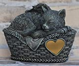 Katzen Urne grau als Katzen-Engelfigur und Gravurplatte, Tierurne