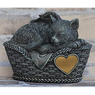 Cat urn grey as Cat-Angel figurine and engraving sheet, animal urn Cat urn grey as Cat-Angel figurine and engraving sheet, animal urn 51segOb7naL