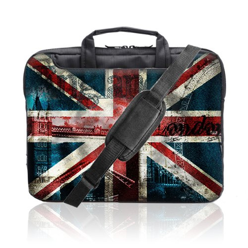 TaylorHe 15 / 15,6 Zoll Notebooktasche, Schultertasche für Notebook mit Muster , Laptoptasche mit Griff und Seitentaschen Laptop Bag london, union jack -