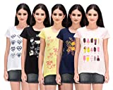 TAB91 Women's Printed Cotton Tops with B...