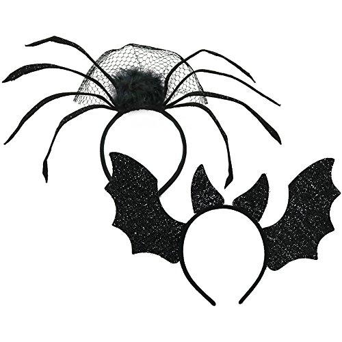 COM-FOUR® 2x Halloween Haarreife in verschiedenen Desings, Kinder Kostüm Zubehör für Halloween, Fasching und andere Partys (02 Stück - Mix)