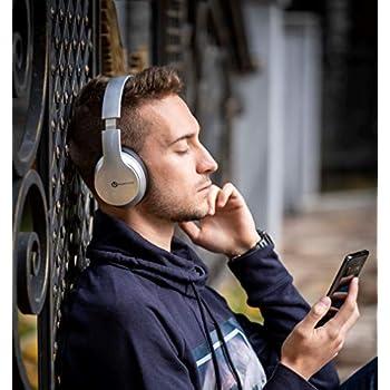 PowerLocus P6 - Cuffie Bluetooth Over Ear, [20 ore Autonomia, Voice Assistant] Cuffie Wireless Senza-Fili Pieghevoli, Cuffie Hi-Fi Stereo con Microfono per iPhone, Samsung, iPad, PC, TV (Argento)