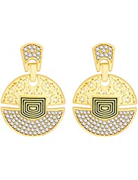 Peora 18 Karat Gold Plated Geometric Disc CZ Earrings For Women And Girls
