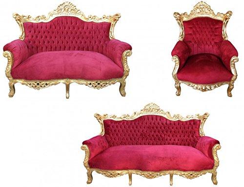 Casa Padrino Barock Wohnzimmer Set Master Bordeaux Rot/Gold - 3er Sofa+2er Sofa + 1 Sessel