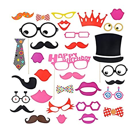 Souarts 31PCS Photo Booth Masquerade Lunettes Moustache Couronne Kit d'accessoires