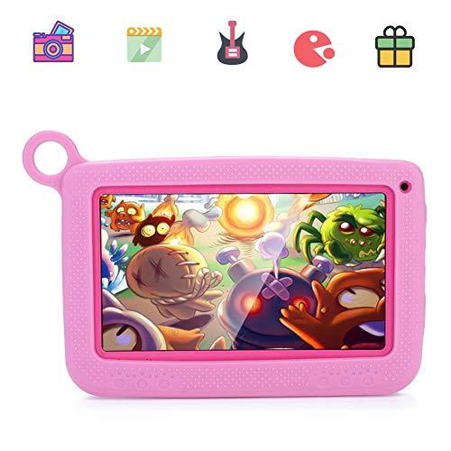 VBESTLIFE 7 Zoll Touchscreen Kinder Tablet, 1024 * 600 PC WiFi Augenschutz WiFi Edition Tablet mit Dual-Kamera (512M RAM+8GB, unterstützt 32 GB TF Karte, Mit Case), Rosa