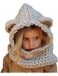 Perfectii Cappello in Maglia Inverno Cappellino Cappuccio Sciarpa Cappello  Crochet per Bambini Cappello Linguetta Carino c81f47fc6c84