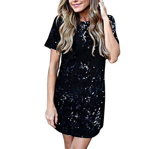 Damen Kleider SommerKleid Kurz Pailletten Spleiß Freizeitkleid Elegant Midikleid Kurzärmlig Ballkleider A-Linie Cocktailkleid Abendkleid