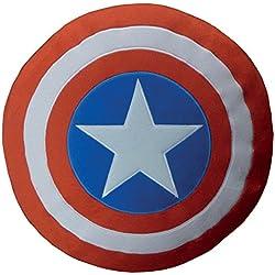 CTI 043538Avengers–Cojín (36x36cm), diseño del escudo del Capitán América, colores rojo, azul y blanco