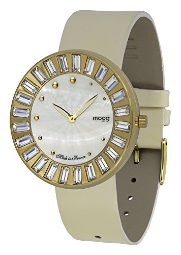 Moog Paris Sunshine Women's Watch with White Mother of Pearl Dial, White Genuine Leather Strap & Swarovski Elements - M45431-402