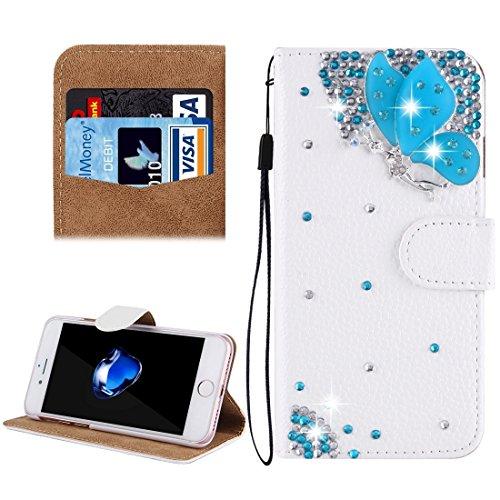 Hülle für iPhone 7 plus , Schutzhülle Für iPhone 7 Plus, Diamond verkrustet drei Schmetterlinge Pattern Horizontale Flip Leder Tasche mit magnetischen Wölbung & Card Slots & Handschlaufe ,hülle für iP Ip7p4910k