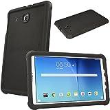 TECHGEAR Schutzhülle für Samsung Galaxy Tab E 9,6 (T560 T565), [Kinderfreundlich] Leichtes Koffer Silikon Soft Shell Anti-Rutsch-Shockproof verstärkte Ecken + Displayschutzfolie. - Schwarz
