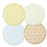 vancasso Natsuki Set di Sottopentola 4 Pezzi in Ceramica e Sughero Protezione per Qualsiasi Tipo di Tavolo ø 20 cm
