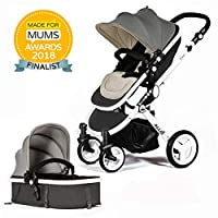 Allis® Baby Pram Pushchair Buggy Stroller Carry Cot Travel 2in1 Grey