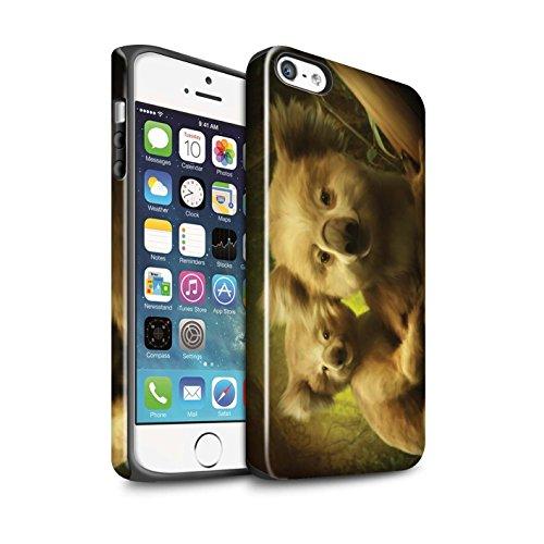 Officiel Elena Dudina Coque / Brillant Robuste Antichoc Etui pour Apple iPhone 5/5S / Cleopatra/Serpent Doré Design / Les Animaux Collection Koalas/Escalade d'Arbres