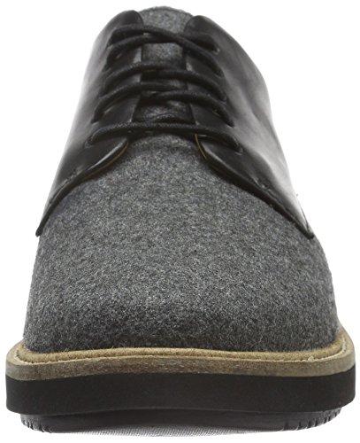 Clarks Glick Darby, Scarpe Stringate Donna Grigio (Grey Textile/Blk Leather Combi)