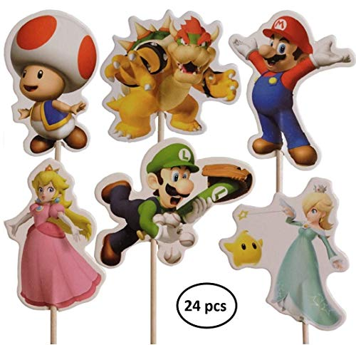 Ana Banana Paris SUPER Mario BROSS-Kuchen-Toppers Kuchendekoration (Packung mit 24) (Super Mario Geburtstag Dekorationen)