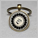 Llavero con símbolo Om, budismo, llavero Zen, meditación, mandala artística, llavero...