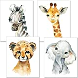artpin® 4er Set Bilder Kinderzimmer Deko Junge Mädchen - DIN A4 Poster Tiere - Safari Afrika Wandbilder - Porträt Elefant Tiger Erdmännchen Zebra (P35)