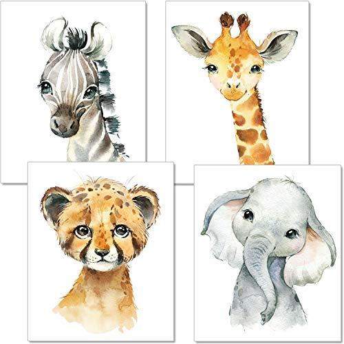 artpin 4er Set Bilder Kinderzimmer Deko Junge Mädchen - DIN A4 Poster Tiere - Safari Afrika Wandbilder - Porträt...
