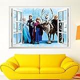 Clest F&H frozen elsa window pegatinas de pared infantiles dormitorio decoración Mural del hogar