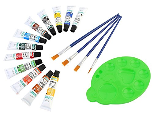 DOZEN Artist Quality 12ml Acrylic Color Tubes Set with 4 Paint Brushes & Palette, 12 Colors Set