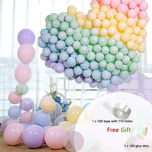 Howaf Luftballons Pastell, 102 stücke 12 Zoll Helium Luftballons Latexballons Partyballon mit ballongirlande Band und Ballon kleberpunkte für Partydeko Pastellfarben, Hochzeit Geburstagsdeko -