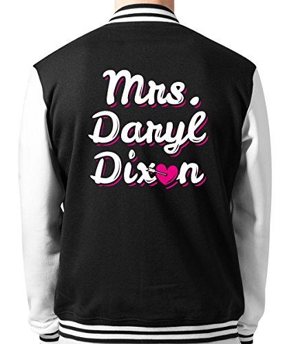 -- Mrs. Daryl Dixon -- Unisex College Jacke Schwarz/Weiss