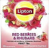 Lipton Früchtetee Erdbeere Himbeere Rhababer Pyramidenbeutel 20 Stück, 3er Pack