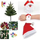 KRIWIN COMBO Of 1 FT (12 INCHES) Christmas Tree (TABLE/ DESKTOP) With 10 Pcs Christmas Decorations( ASSORTED), 1 Pc Santa Cap & 1 Pc Santa Wrist Band For Kids