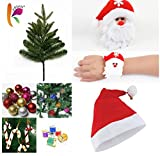 #3: KRIWIN COMBO of 1 FT (12 INCHES) Christmas Tree (TABLE/ DESKTOP) with 10 pcs Christmas Decorations( ASSORTED), 1 pc Santa Cap & 1 pc Santa Wrist Band for Kids