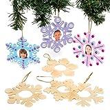 Baker Ross Decorazioni portafoto Natalizie con Fiocchi di Neve Invernali in Legno da Appendere per Bambini, da Creare e colorare - Creazione Natalizia Fai da Te (Confezione da 8)