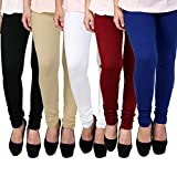 Super weston Women's Cotton Churidar Leggings (68884852, Multicolour, Free Size) -Combo Pack of 5
