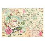 Stamperia Reispapier Postcard mit Rosen, 48 x 33 cm, mehrfarbig