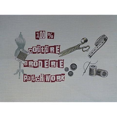 La Boîte à Broder COU048RLE - Scampolo di tessuto stampato con dicitura in francese