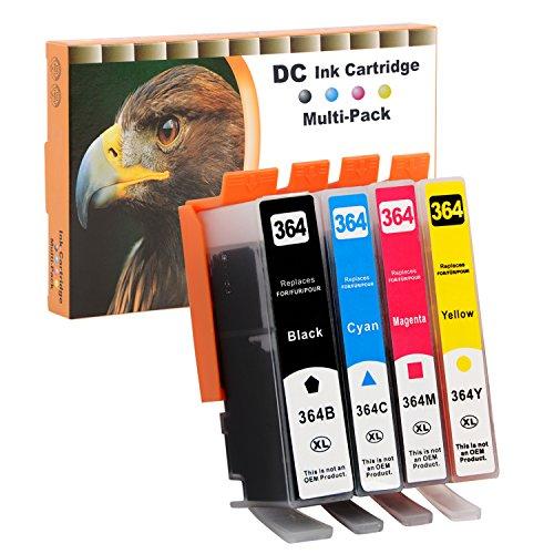 D&C 4 Druckerpatronen komp. für HP 364 Deskjet 3070A (CQ191B), 3520 (CX052B), 3522 (CX055B), 3524 (CX054B), HP Officejet 4620 (CZ152B), 4622 (CZ296B), Photosmart B109d, 5510, 5514, 5515, 5520, 5522, 5524, 6510, 6520, 7510, 7520 mit Chip