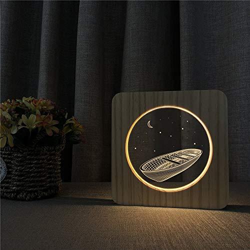 wanmeidp Noahs Ark 3D luz de Grabado LED Acrílico de Madera Mesa ...